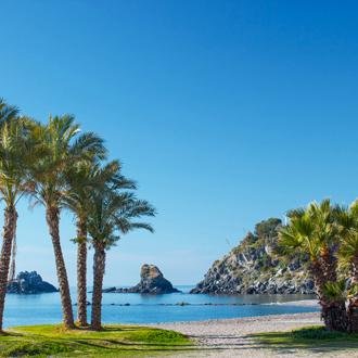 Uitzicht op palmbomen en helderblauw water in Almunecar in Andalusië
