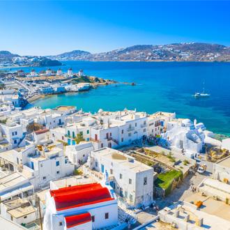 Panoramisch uitzicht op Mykonos stad, Griekenland