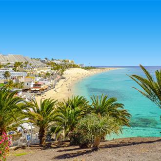 Het dorpje Morro Jable op Fuertaventura, aan zee gelegen.