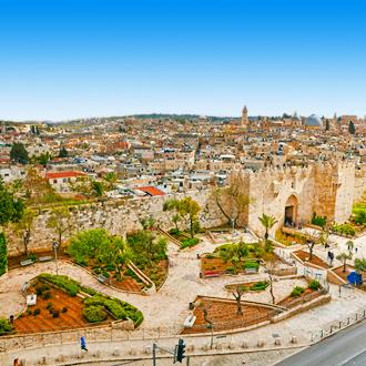 Poort van Damascus en de oude stad van Jeruzalem