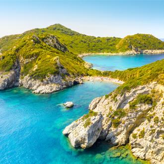 Porto Timoni, een mooi dubbel strand in Corfu. Griekenland