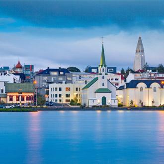 Vooraanzicht van Reykjavik, IJsland