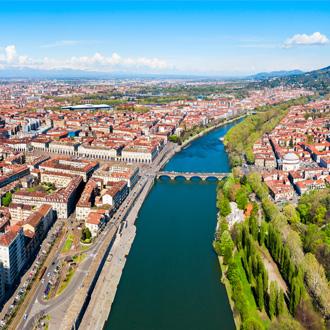 Rivier de Po in Turijn, Piemonte