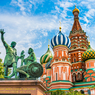 De kleurrijke Sint Basilius kathedraal in Moskou