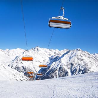 Skipiste en skiliften in Solden