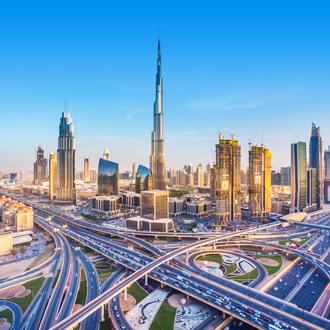Wegen Dubai rondom het Burj Khalifa Verenigde Arabische Emiraten