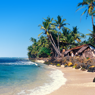 De zuidkust van Hikkaduwa in Sri Lanka