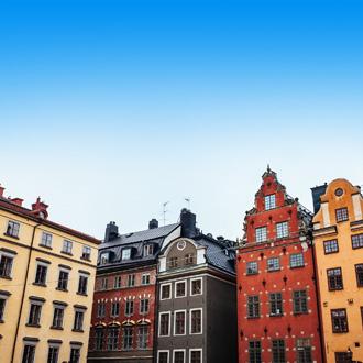 Gekleurde huizen in Stockholm