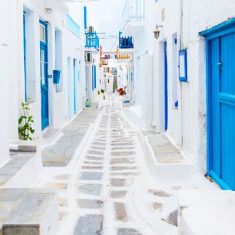Straatbeeld van Mykonos, Griekenland