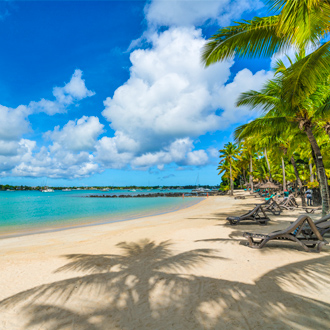Grand Baie strand, met palmbomen, wit strand en blauwe zee