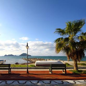 Boulevard van Turgutreis met palmboom en azuurblauwe zee