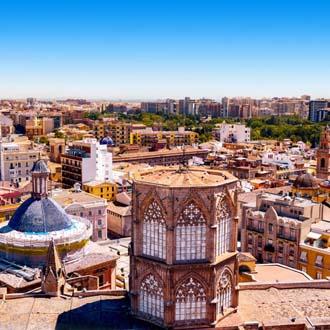 Uitzicht over Valencia met huisjes