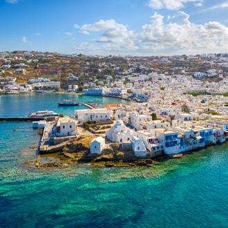 Uitzicht op Mykonos-stad op het eiland Mykonos in Griekenland