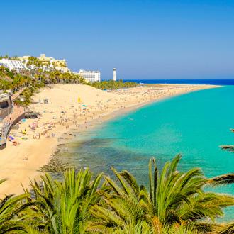 Foto van het uitzicht op het strand Playa del Matorral in Morro Jable naast Playa Desquinzo