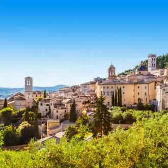Uitzicht over de stad Assisi, Umbrië, Italië