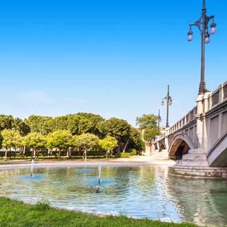 Water met brug en bomen in Valencia