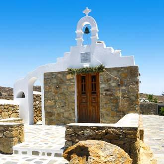 Wit kerkje in Mykonos, Griekenland