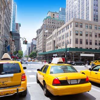 Beroemde yellow cabs, gele taxis in New York