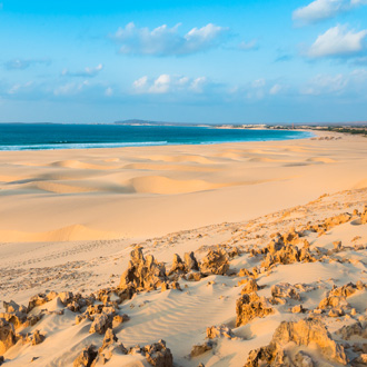 Zandduinen van Praia de Chaves in Boaviste, Kaapverdie