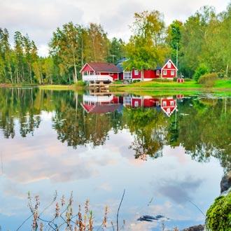 Het Zweedse groene landschap met rode huisjes
