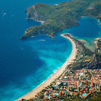 Luchtpanorama foto van Oludeniz, Turkije