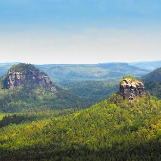 Panoramisch uitzicht van Winterstein in Sachsen