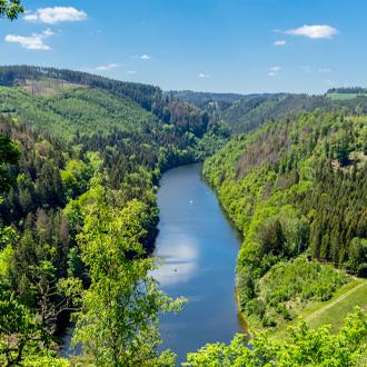 Prachtig uitzicht op het Thuringer Woud in Duitsland