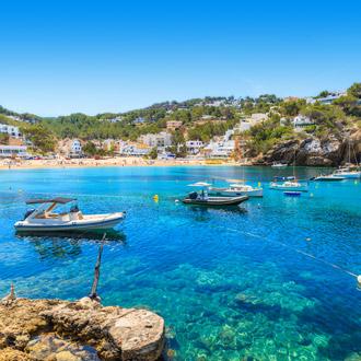 Vis en zeilboten in Cala Vadella Ibiza