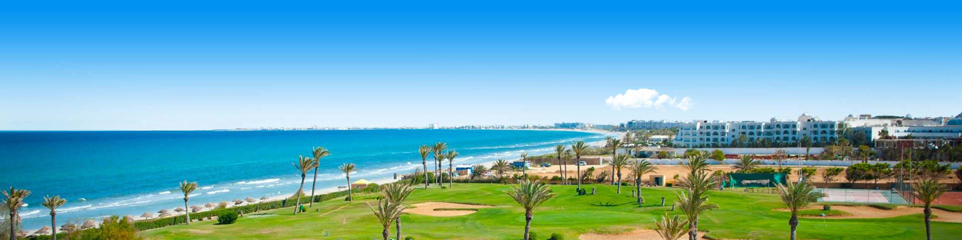 Kustlijn met blauwe zee, groene weide en hotels Golf van Hammamet