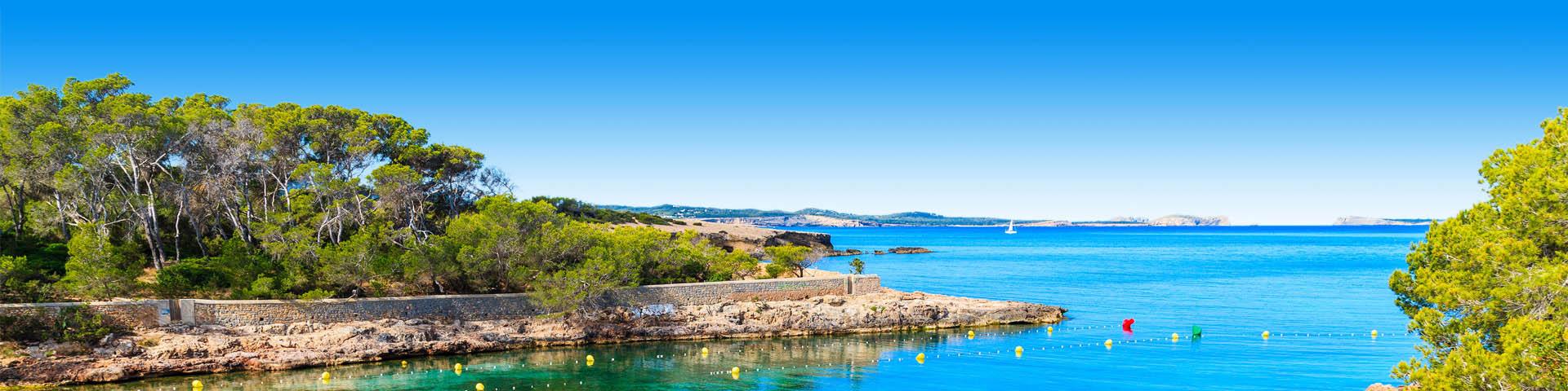Uitzicht op de zee en de rosten bij San Antonio op Ibiza