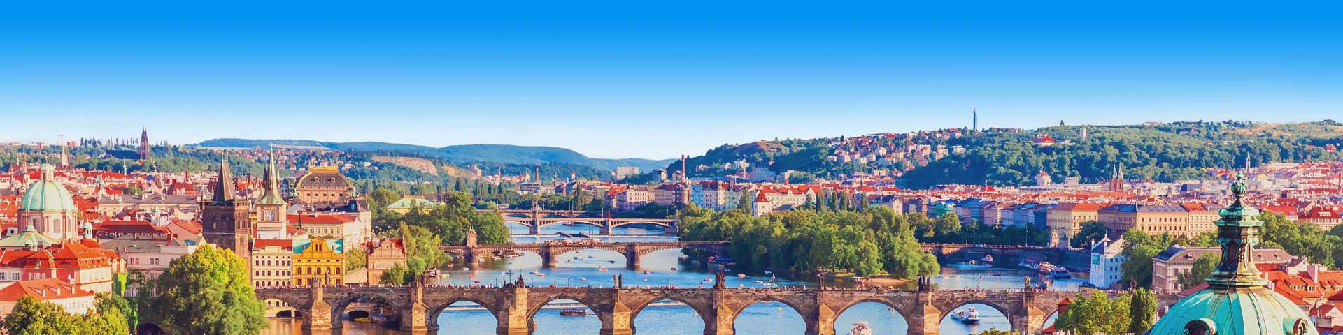Brug met uitzicht over landschap in Tsjechië