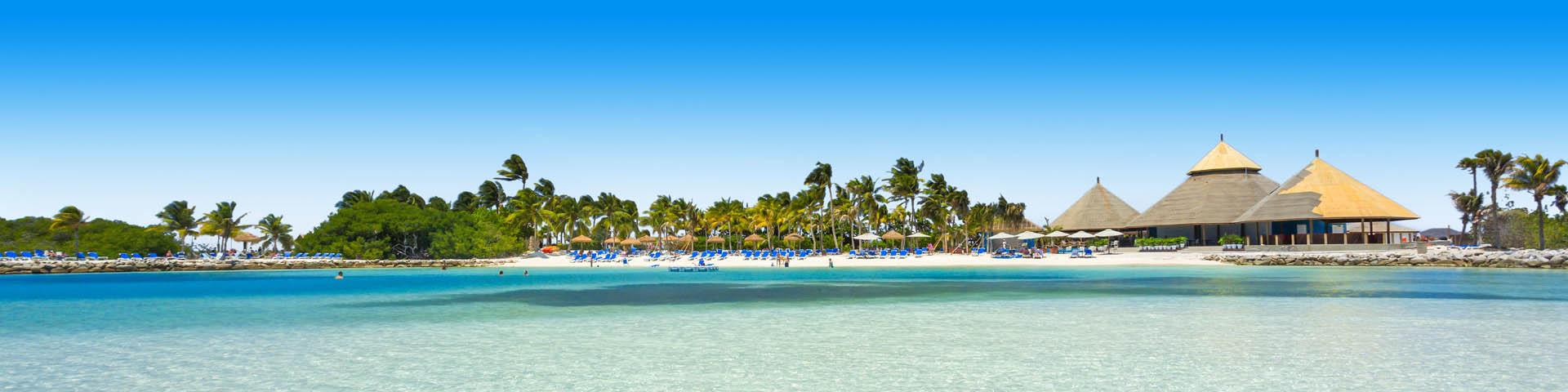 Helderblauwe zee aan de kust van een Caribisch eiland met palbomen en wit zandstrand