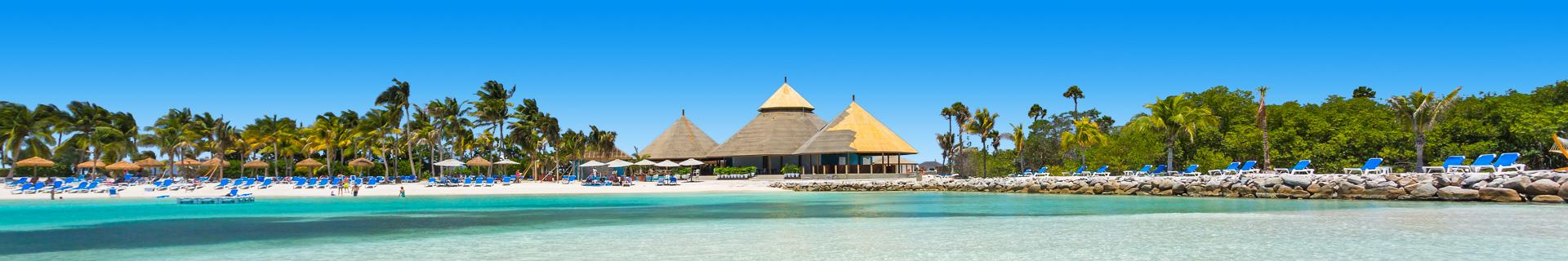 Uitzicht op het strand, helderblauw water en palmbomen op Aruba
