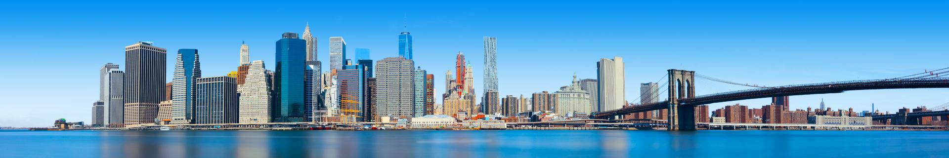 Skyline met hoge gebouwen in de Verenigde Staten