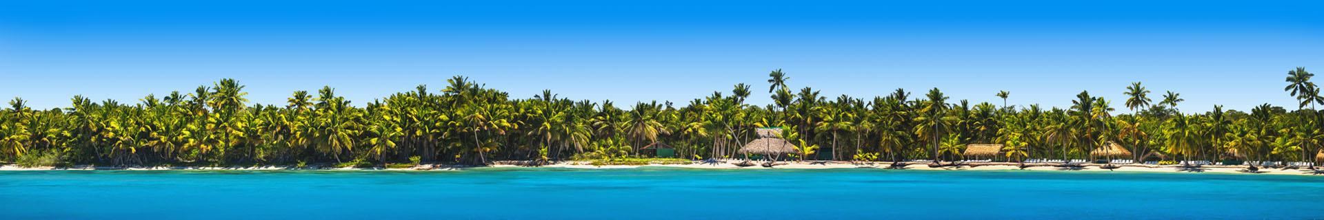Uitzicht op de zee, het strand en palmbomen tijdens een vakantie Mexico