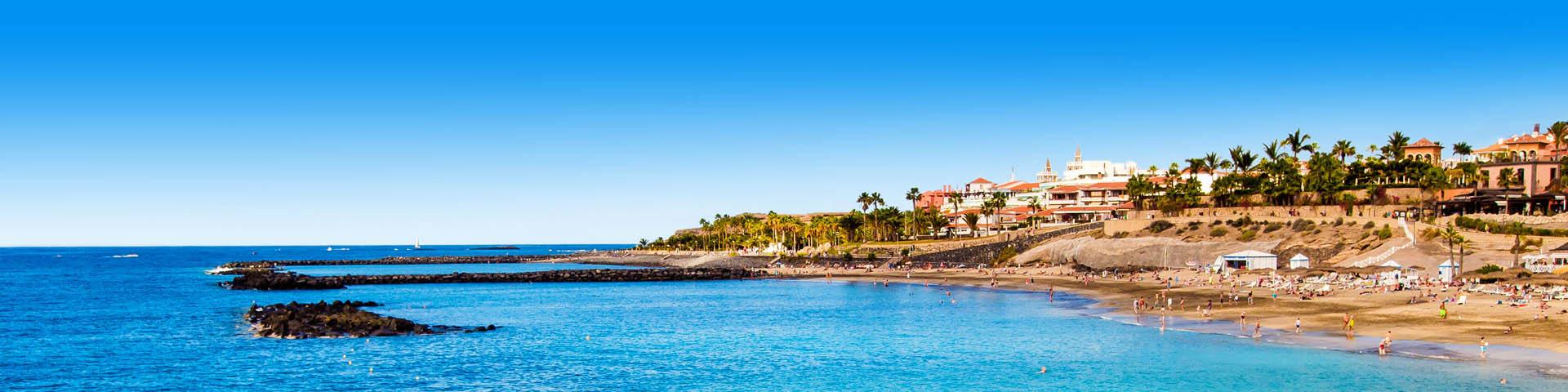 Zandstrand met azuurblauwe zee en palmbomen