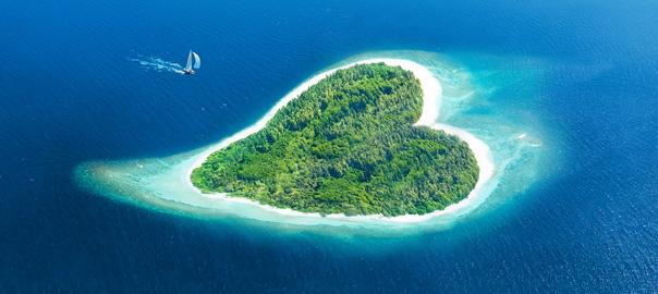 Hartvormig tropisch eiland