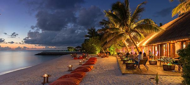 Gezellige strandtent bij schemer, omringd door palmbomen en de zee