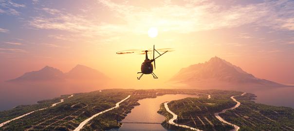 Helicopter bij zonsondergang