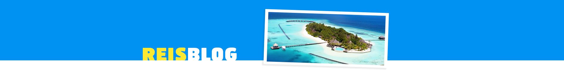 Eiland op de Malidiven met prachtig blauwe zee en groen eiland.