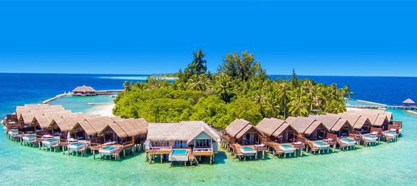 Waterbungalows op een verre vakantie bestemming