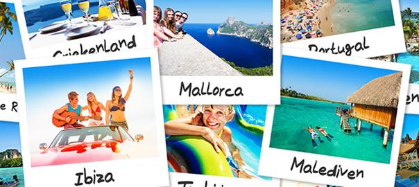Vroegboek vakantie bestemmingen op polaroids